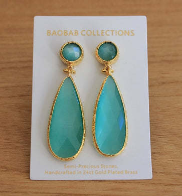 EARRINGS LONG QUARTZ TEARDROP GOLD MINT