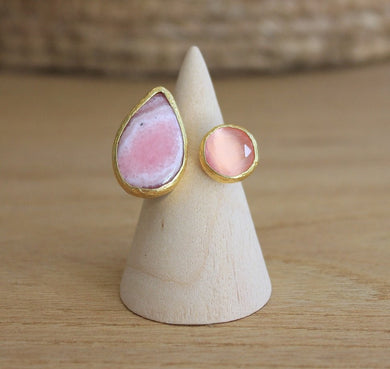 BAOBAB COLLECTIONS RING GOLD RHODOCHROSITE & QUARTZ PINK