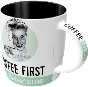 MUG NOSTALGIC ART COFFEE FIRST BULLSHIT SECOND