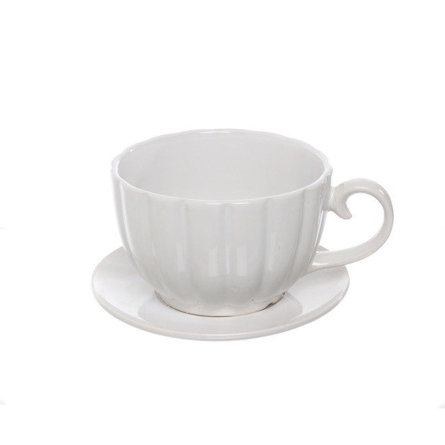 CERAMIC TEA CUP & SAUCER POT WHITE