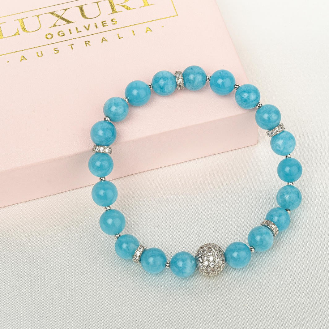 LUXURY CRYSTAL BRACELET AQUAMARINE & SILVER