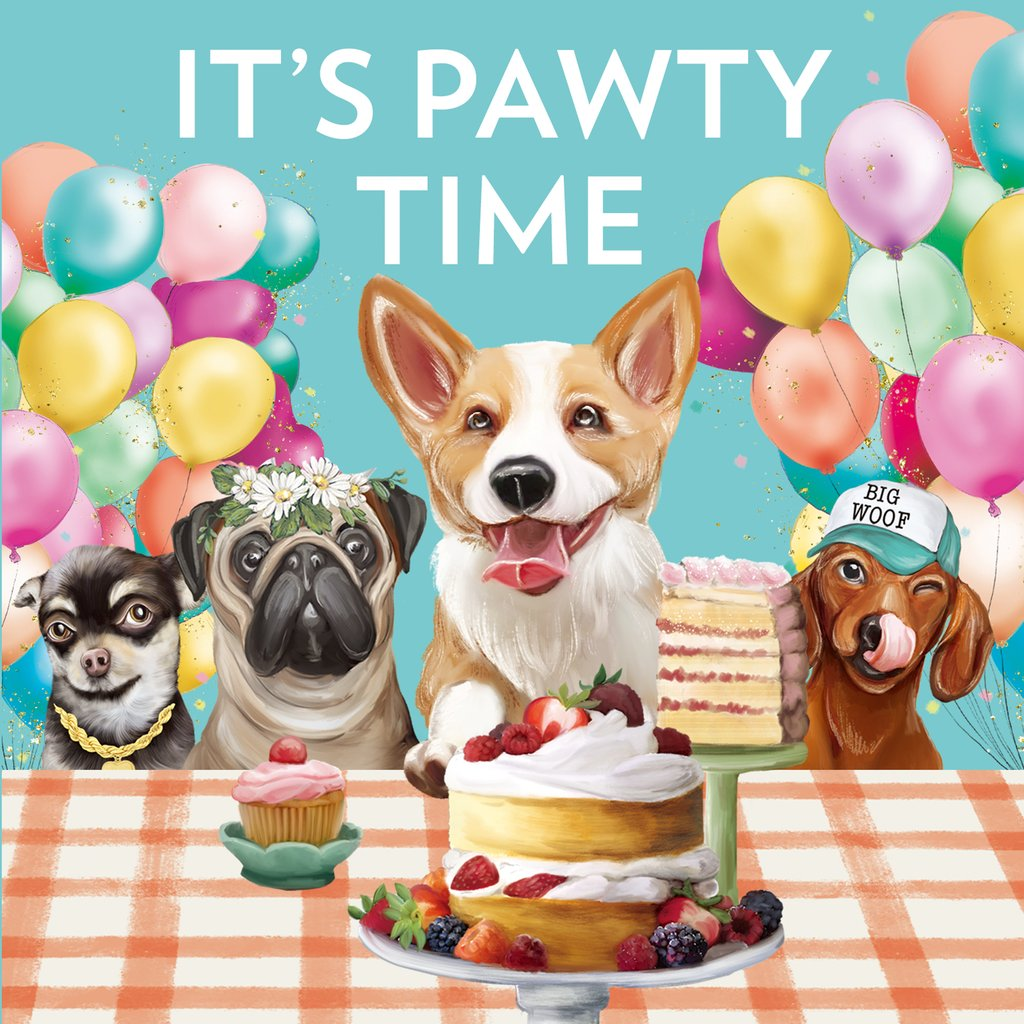 GREETING CARD IT'S PAWTY TIME