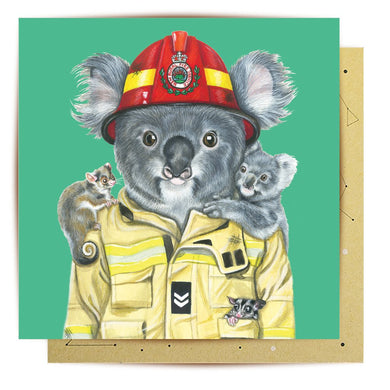 GREETING CARD RURAL FIREFIGHTER KOALA