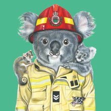 Load image into Gallery viewer, GREETING CARD RURAL FIREFIGHTER KOALA