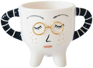 PLANTER LADY WITH GLASSES WHITE 10CM