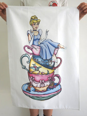 TEA TOWEL CINDERELLA IN CUPS
