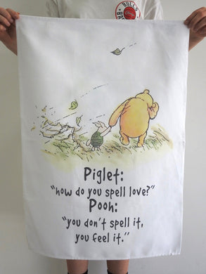 TEA TOWEL POOH HOW DO YOU SPELL LOVE