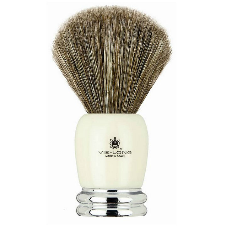 Vie Long 14030 Ivory and Chrome Handle Horse Hair Shaving Brush