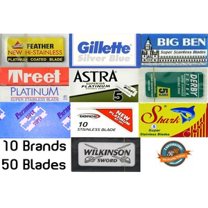 50 Double Edge Safety Razor Blades Sample Pack - 10 Brands