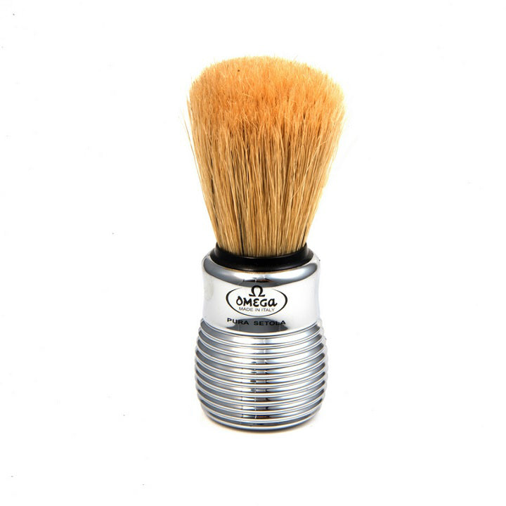 Omega 10081 Silver Beehive Handle Boar Shaving Brush