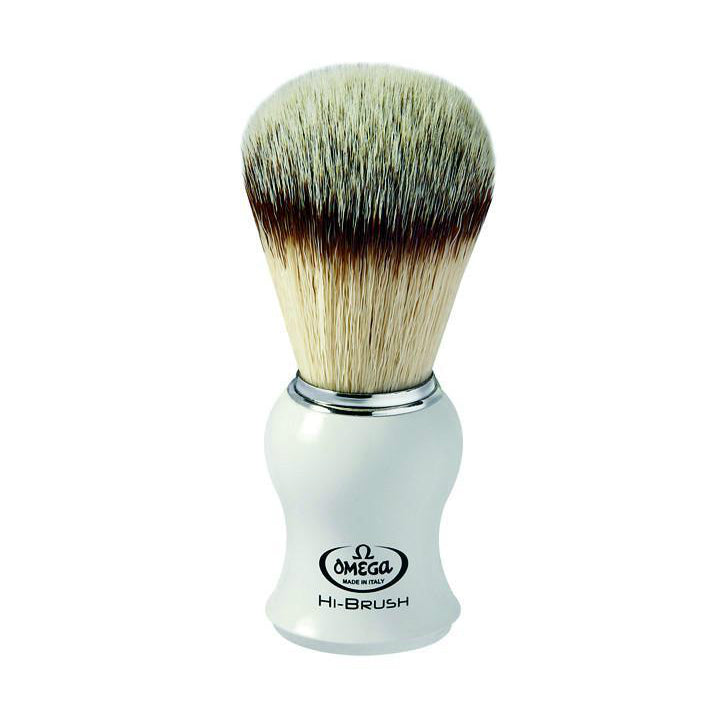Omega 146745 White Handle Synthetic Hi-Performance Shaving Brush