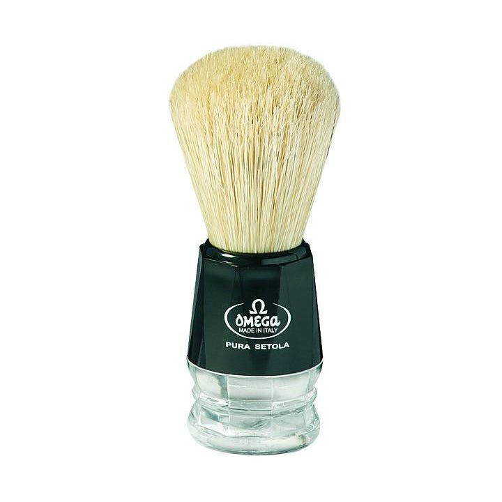 Omega 10019 Black with Clear Handle Boar Shaving Brush