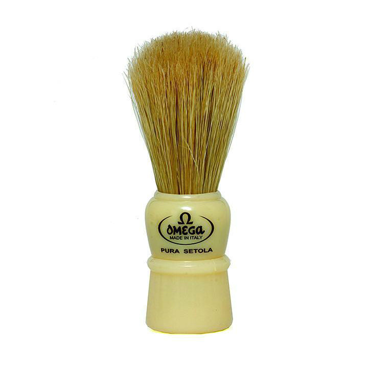 Omega 10086 White Handle Boar Shaving Brush