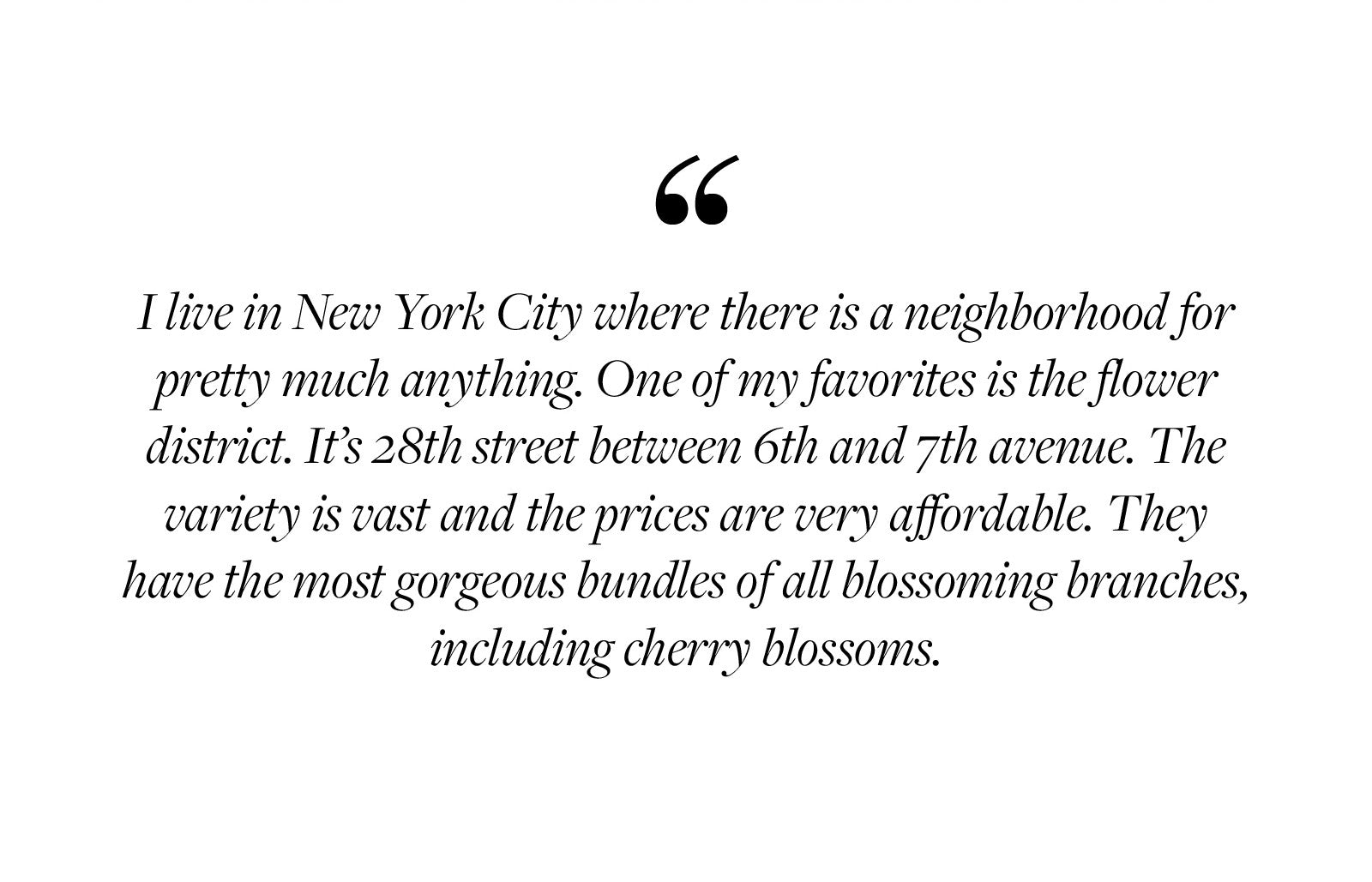 I live in New York City where there is a neighborhood for pretty much anything. One of my favorites is the flower district. It's 28th street between 6th and 7th avenue. The variety is vast and the prices are very affordable. They have the most gorgeous bundles of all blossoming branches, including cherry blossoms.