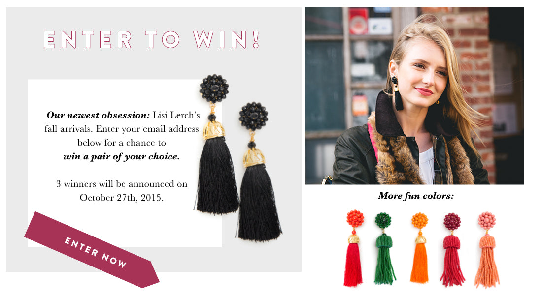 Enter to Win a pair Lisi Lerch tassel earrings of your choice!