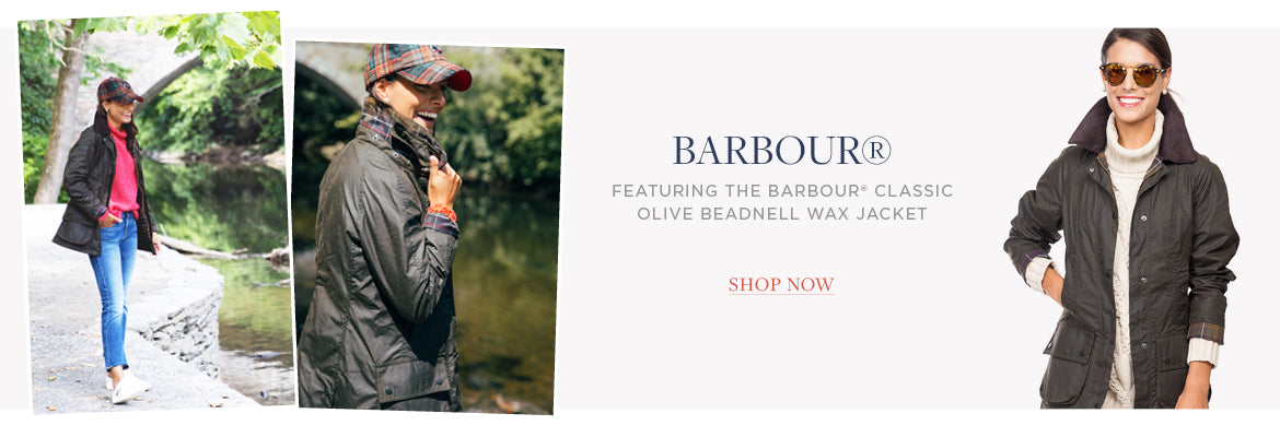 featuring the Barbour® Classic Olive Beadnell Wax Jacket