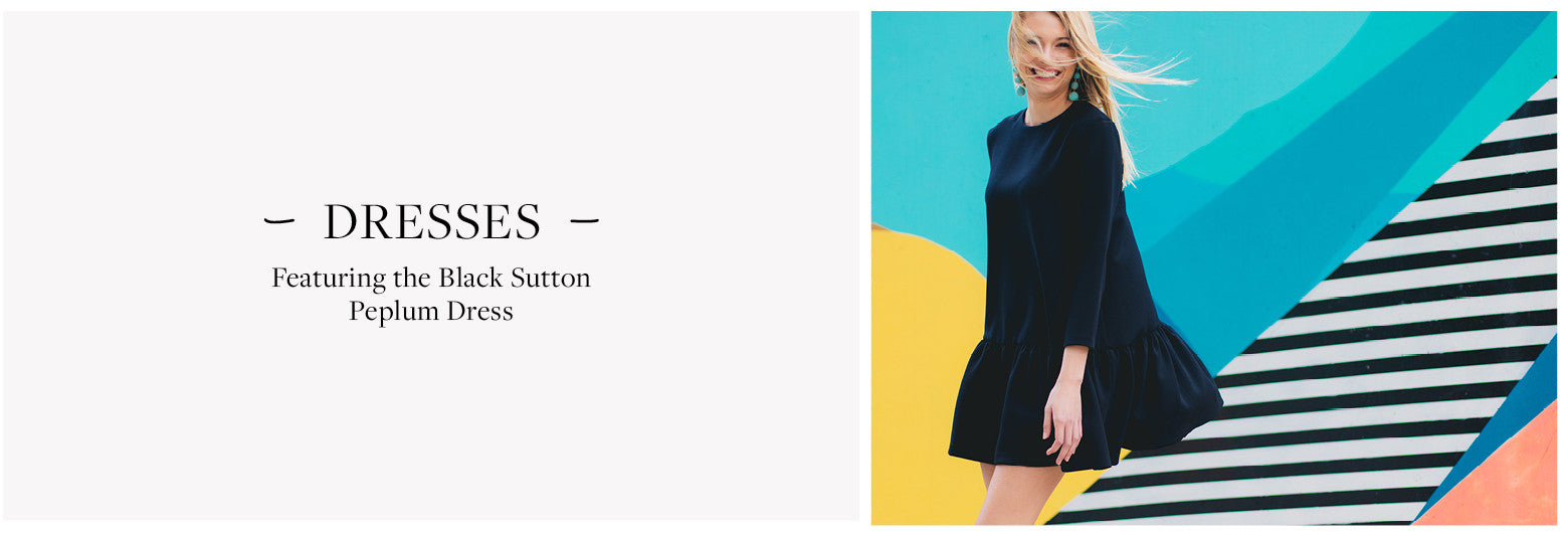 Featuring the Black Sutton Peplum Dress