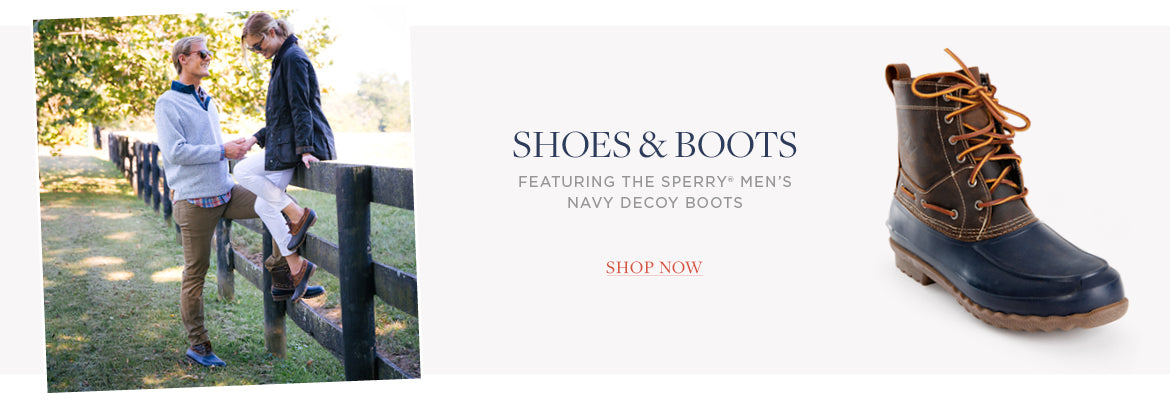 featuring the SPERRY® MEN'S NAVY DECOY BOOTS