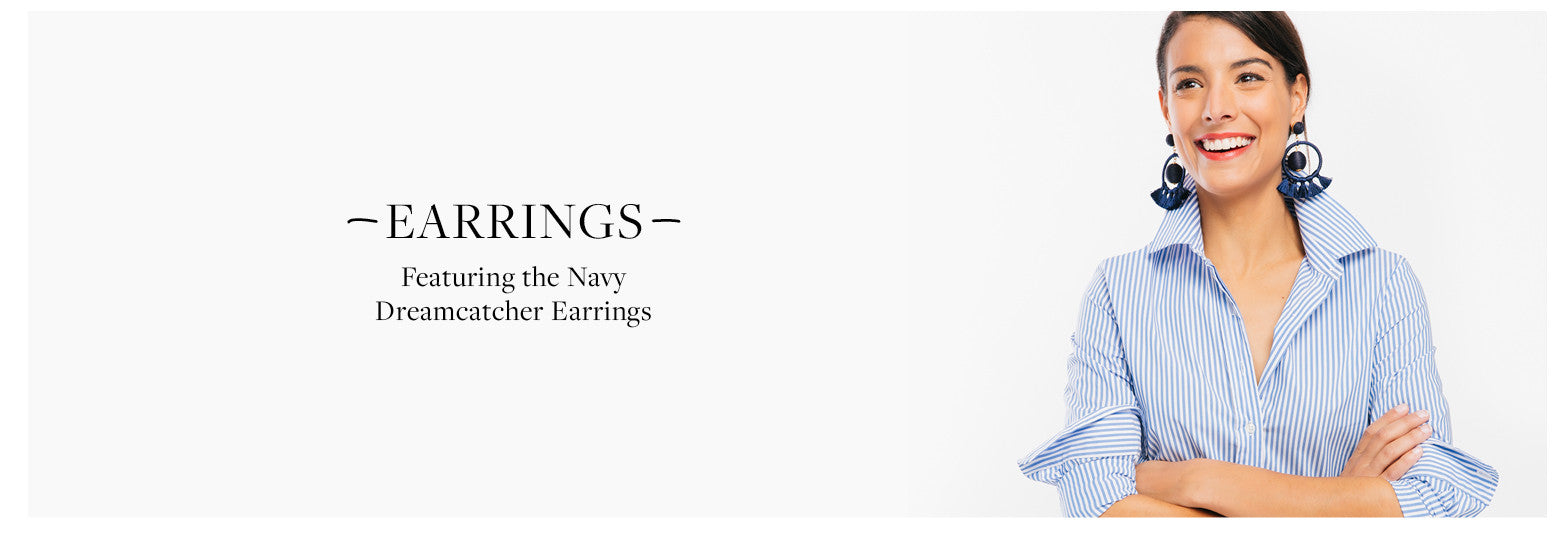 Featuring the Navy  Dreamcatcher Earrings