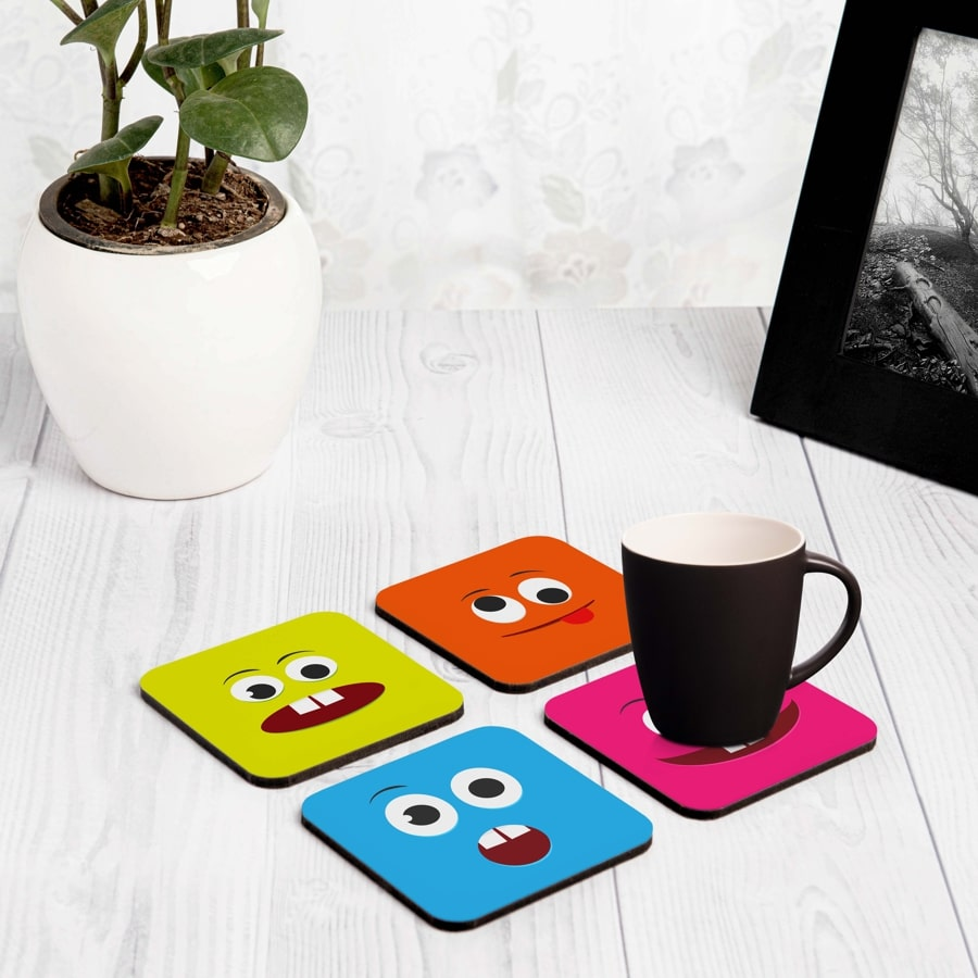 "Emoji 4 piece Coaster Set 3.75"" x 3.75"""