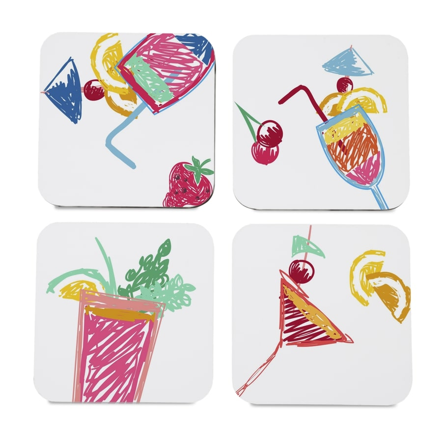"Summer Cocktails 4 piece Coaster Set 3.75"" x 3.75"""