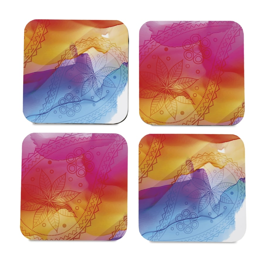 "Multi Watercolour 4 piece Coaster Set 3.75"" x 3.75"""