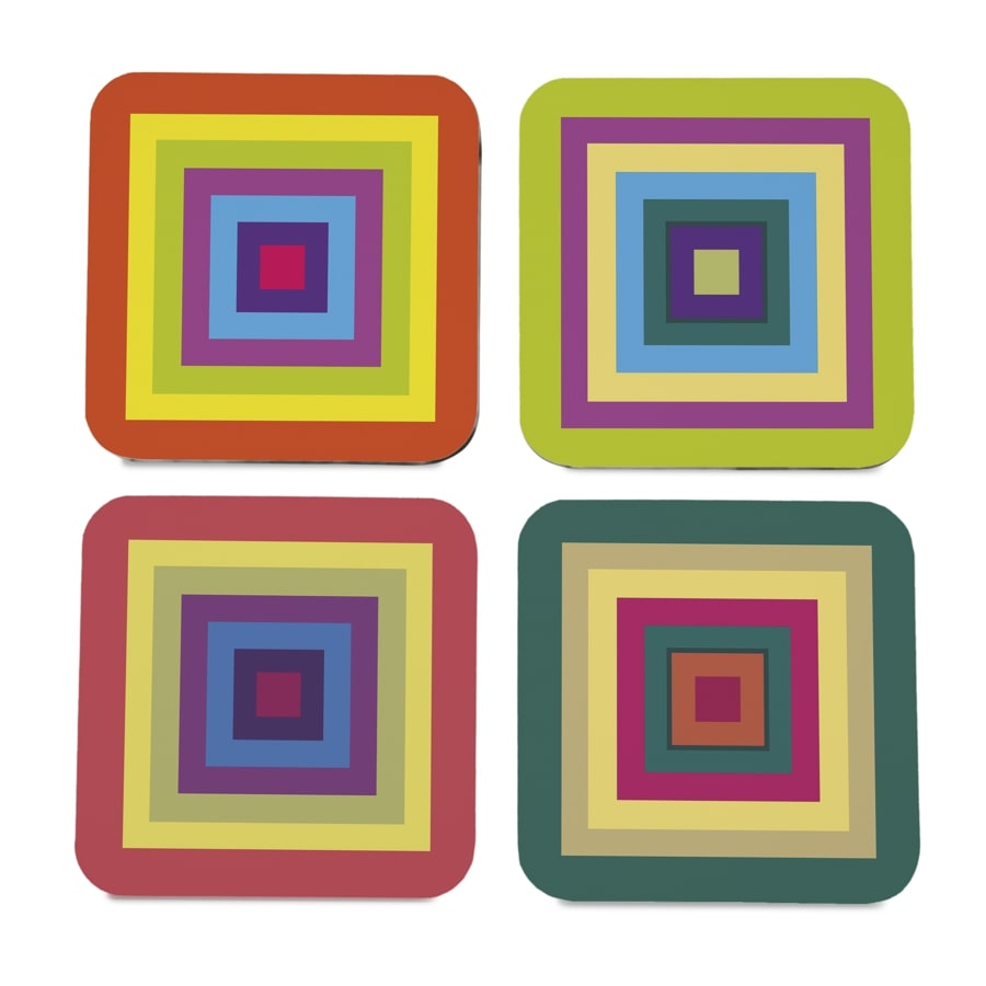 "Colourful Squares 4 piece Coaster Set 3.75"" x 3.75"""
