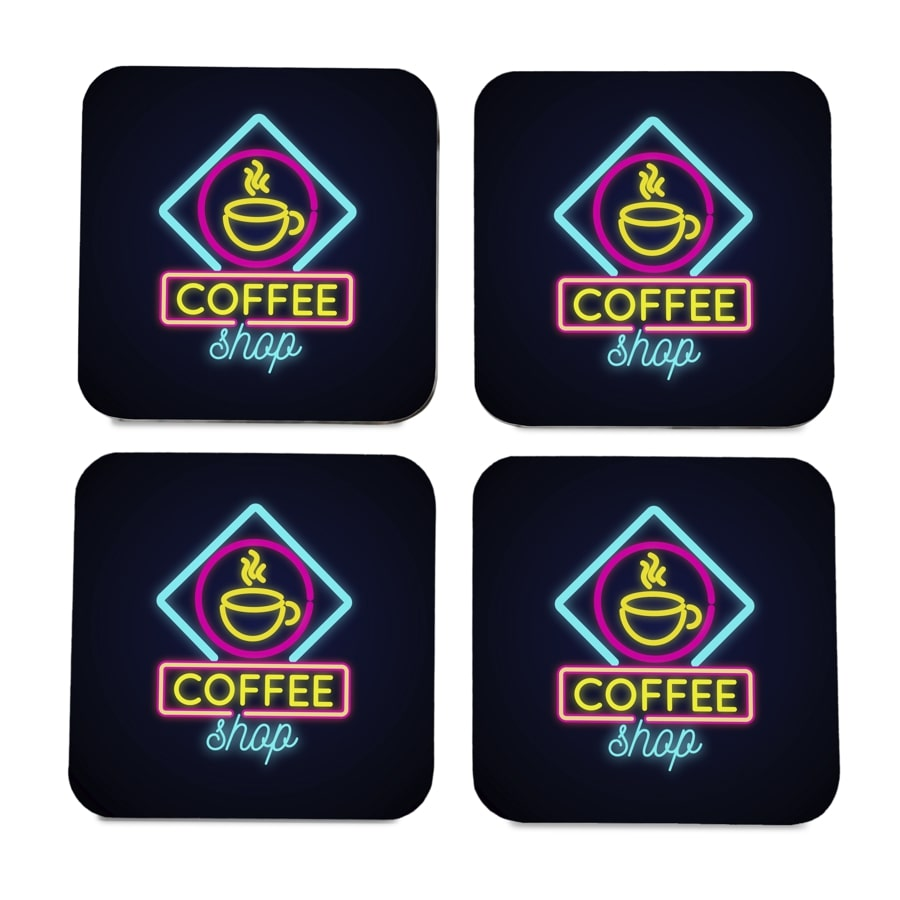 "Neon Coffee 4 piece Coaster Set 3.75"" x 3.75"""