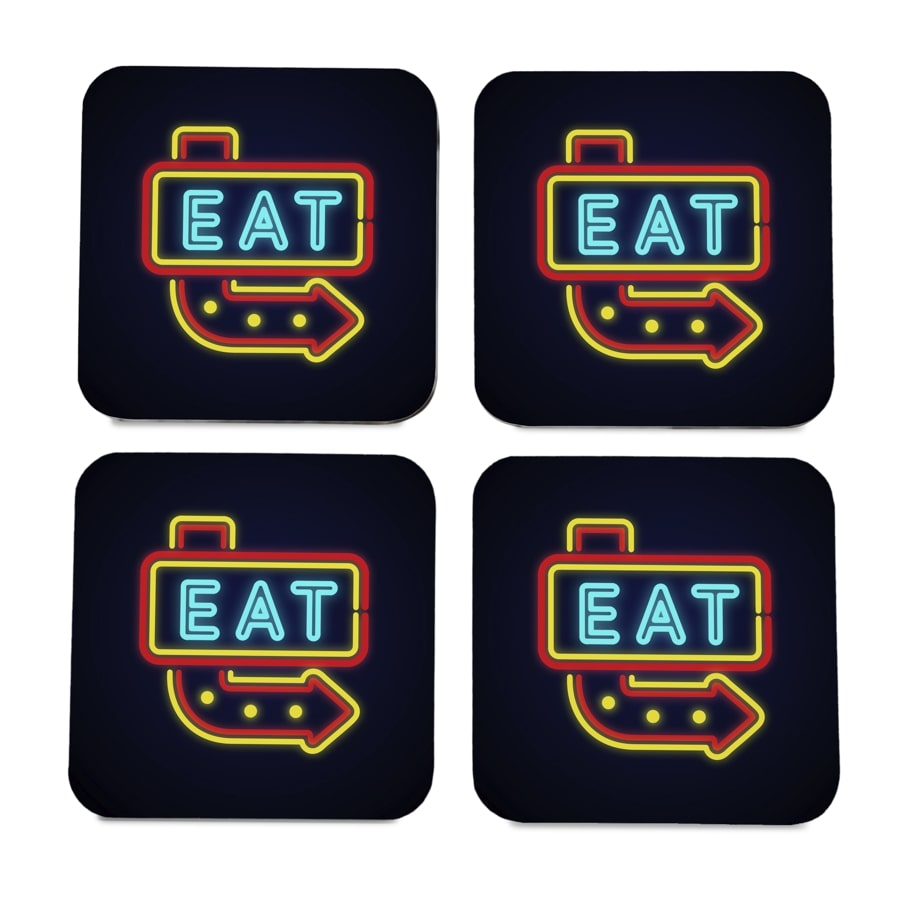 "Neon Eat 4 piece Coaster Set 3.75"" x 3.75"""