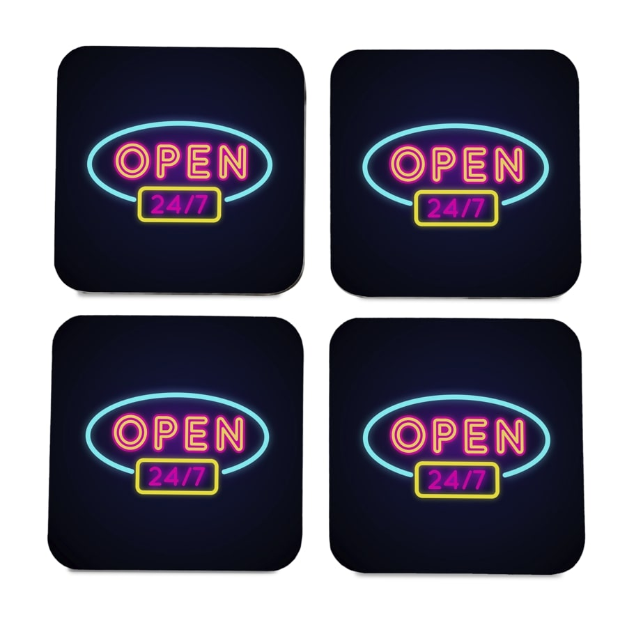 "Neon Open 247 4 piece Coaster Set 3.75"" x 3.75"""