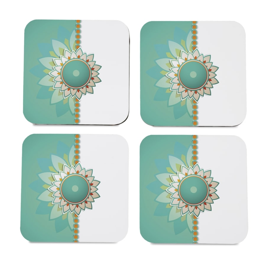 "Rakhee Mint 4 piece Coaster Set 3.75"" x 3.75"""