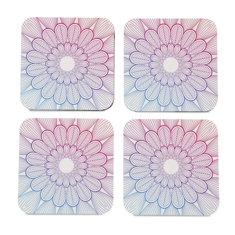 "Boho Center 4 piece Coaster Set 3.75"" x 3.75"""