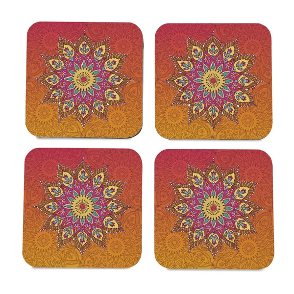 "Orange Mandala 4 piece Coaster Set 3.75"" x 3.75"""