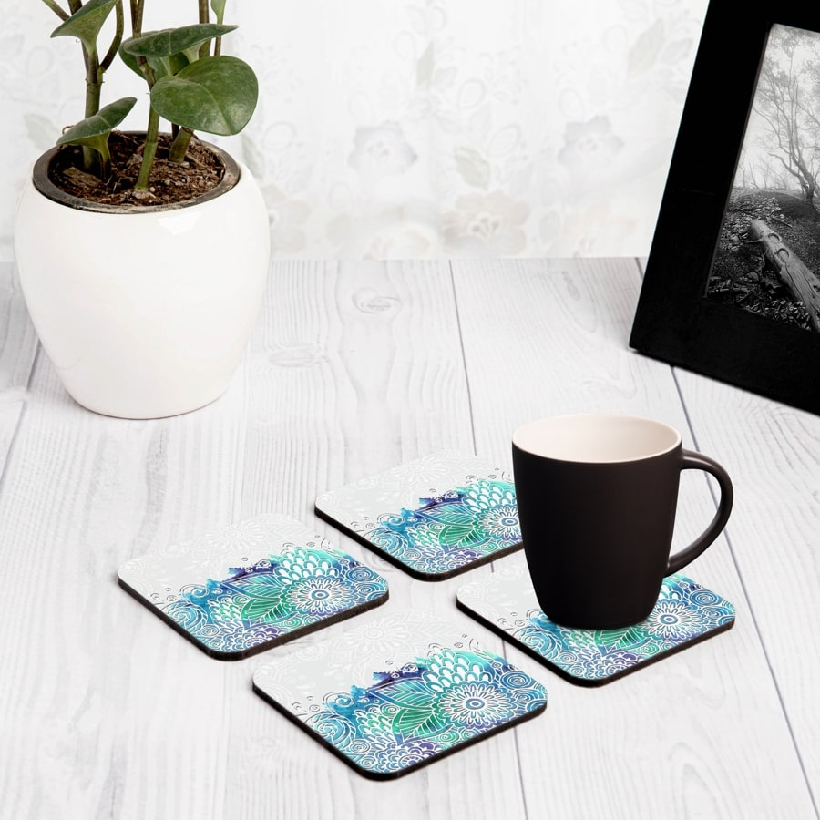 "Abstract Flowers 4 piece Coaster Set 3.75"" x 3.75"""