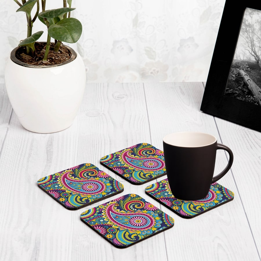 "Blue Paisley 4 piece Coaster Set 3.75"" x 3.75"""