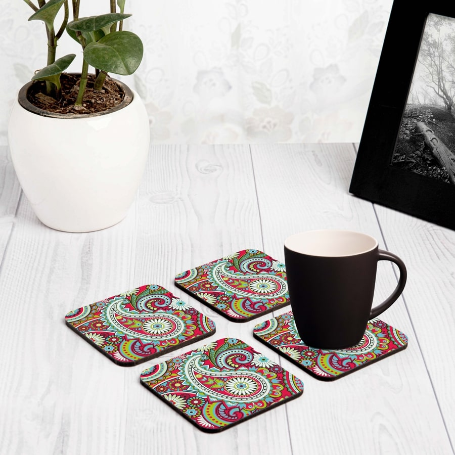 "Pink Paisley 4 piece Coaster Set 3.75"" x 3.75"""