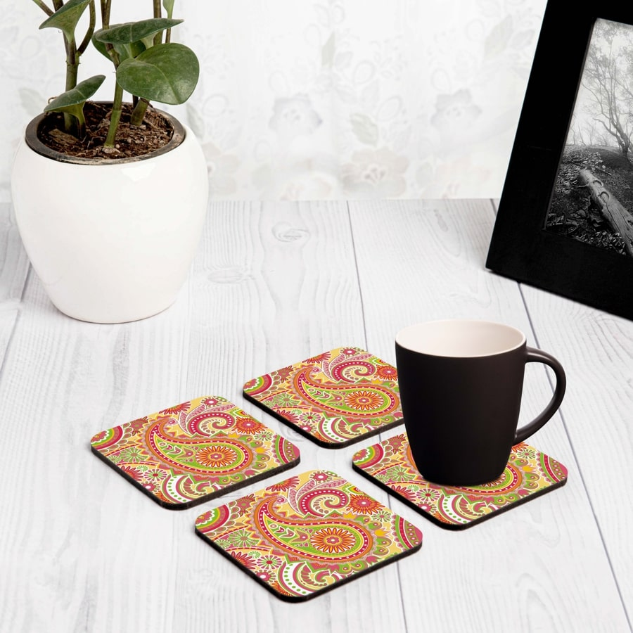 "Yellow Paisley 4 piece Coaster Set 3.75"" x 3.75"""