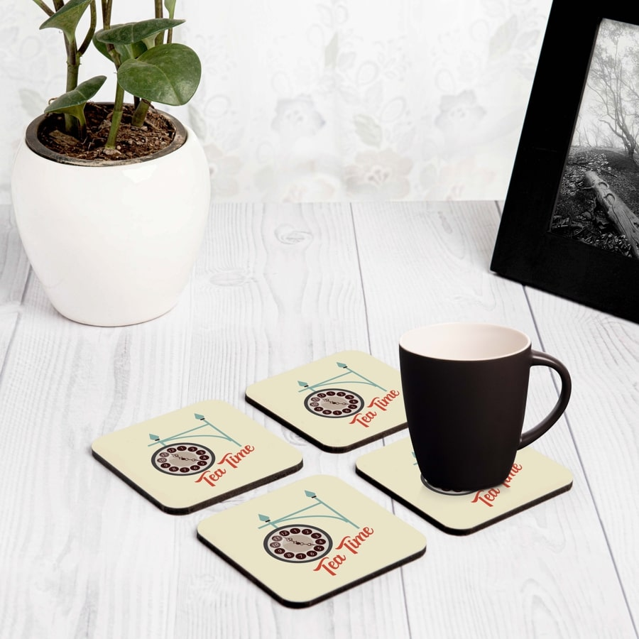 "Tea Time 4 piece Coaster Set 3.75"" x 3.75"""
