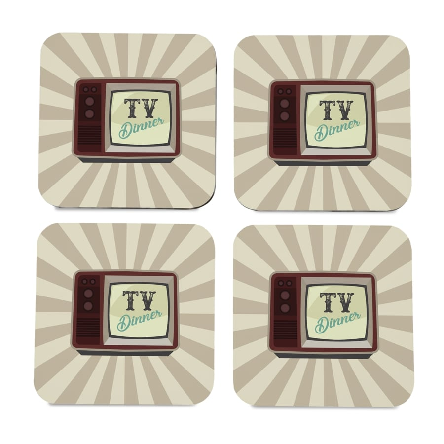 "TV Dinner 4 piece Coaster Set 3.75"" x 3.75"""