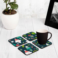 "Xmas Allover2 4 piece Coaster Set 3.75"" x 3.75"""