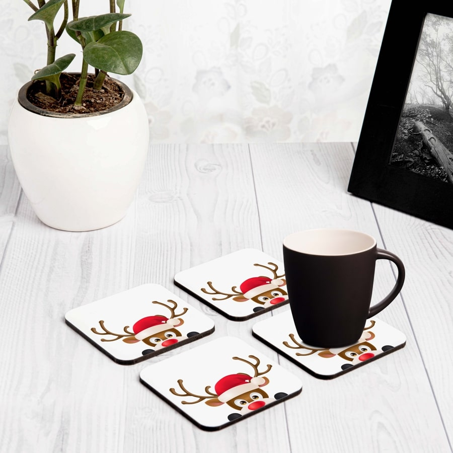 "Xmas Reindeer 4 piece Coaster Set 3.75"" x 3.75"""