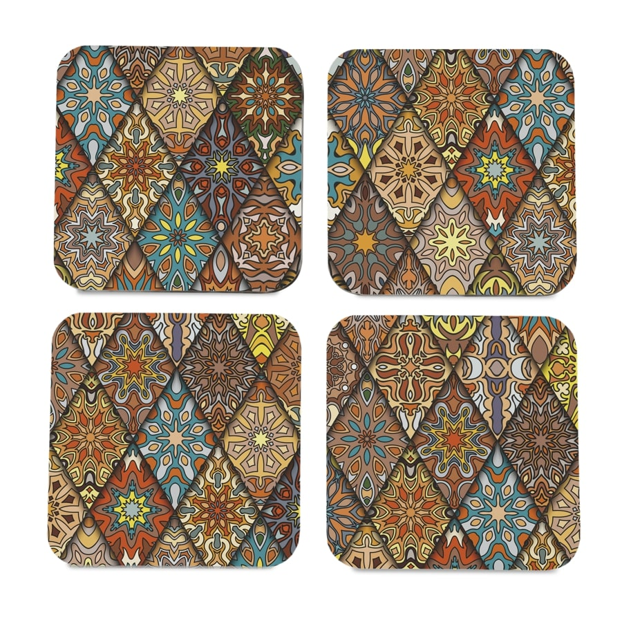 "Diamond 4 piece Coaster Set 3.75"" x 3.75"""