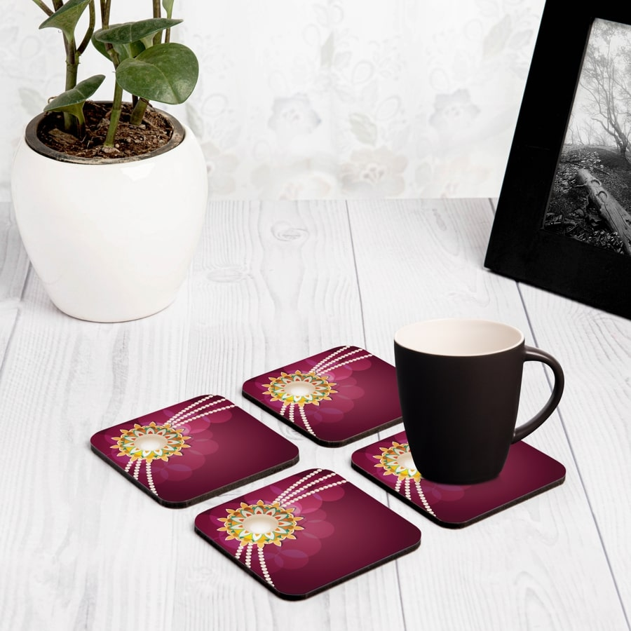 "Rakhi Pearls Rose 4 piece Coaster Set 3.75"" x 3.75"""