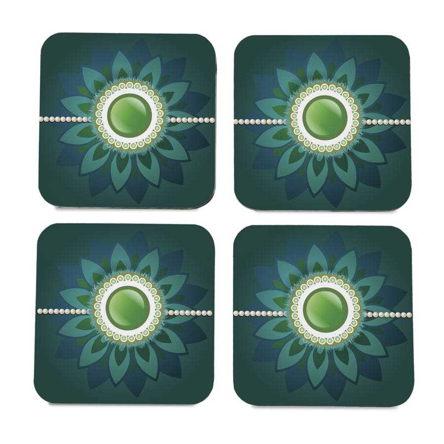 "Rakhi Pearls Green  4 piece Coaster Set 3.75"" x 3.75"""