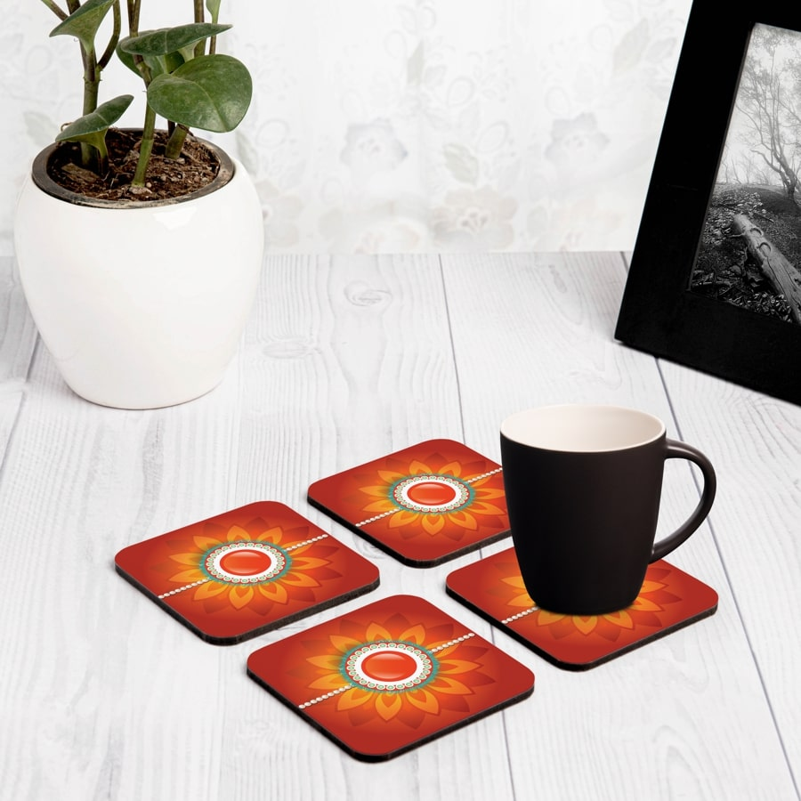 "Rakhi Pearls Orange  4 piece Coaster Set 3.75"" x 3.75"""