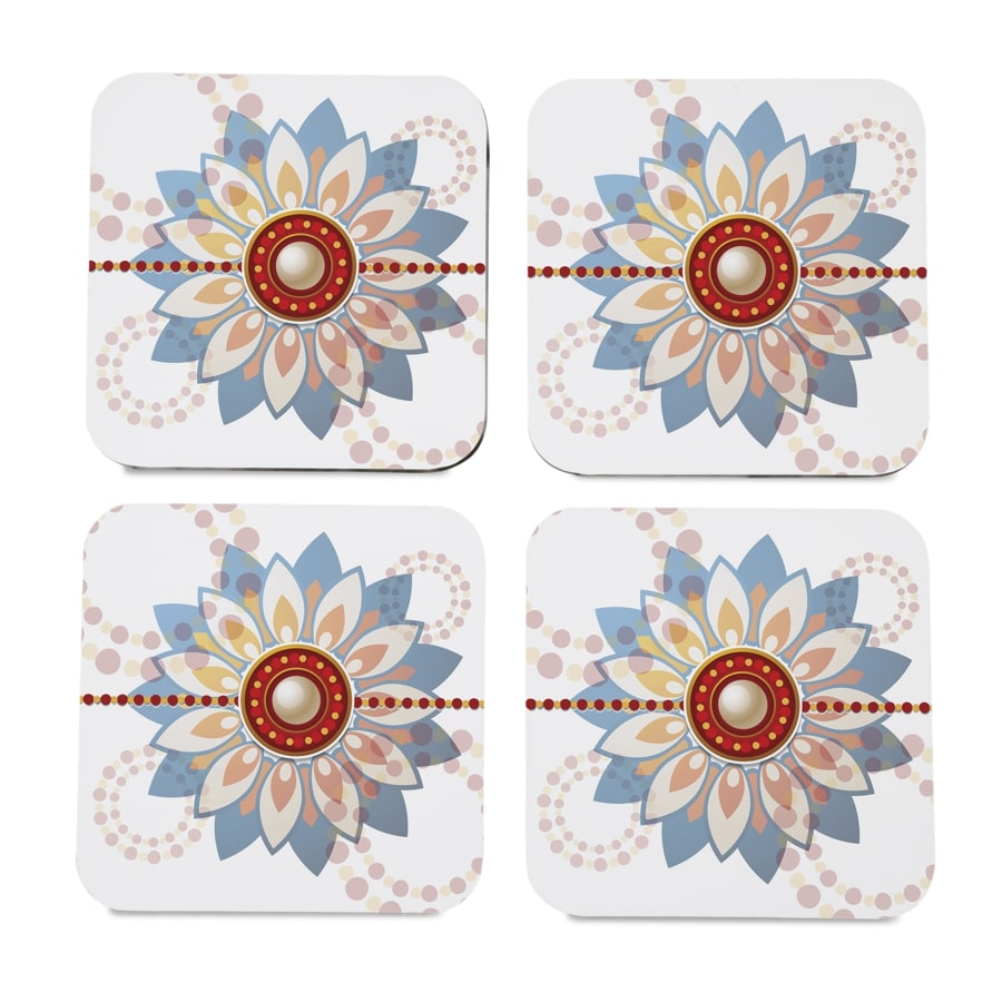 "Rakhee Blue 4 piece Coaster Set 3.75"" x 3.75"""