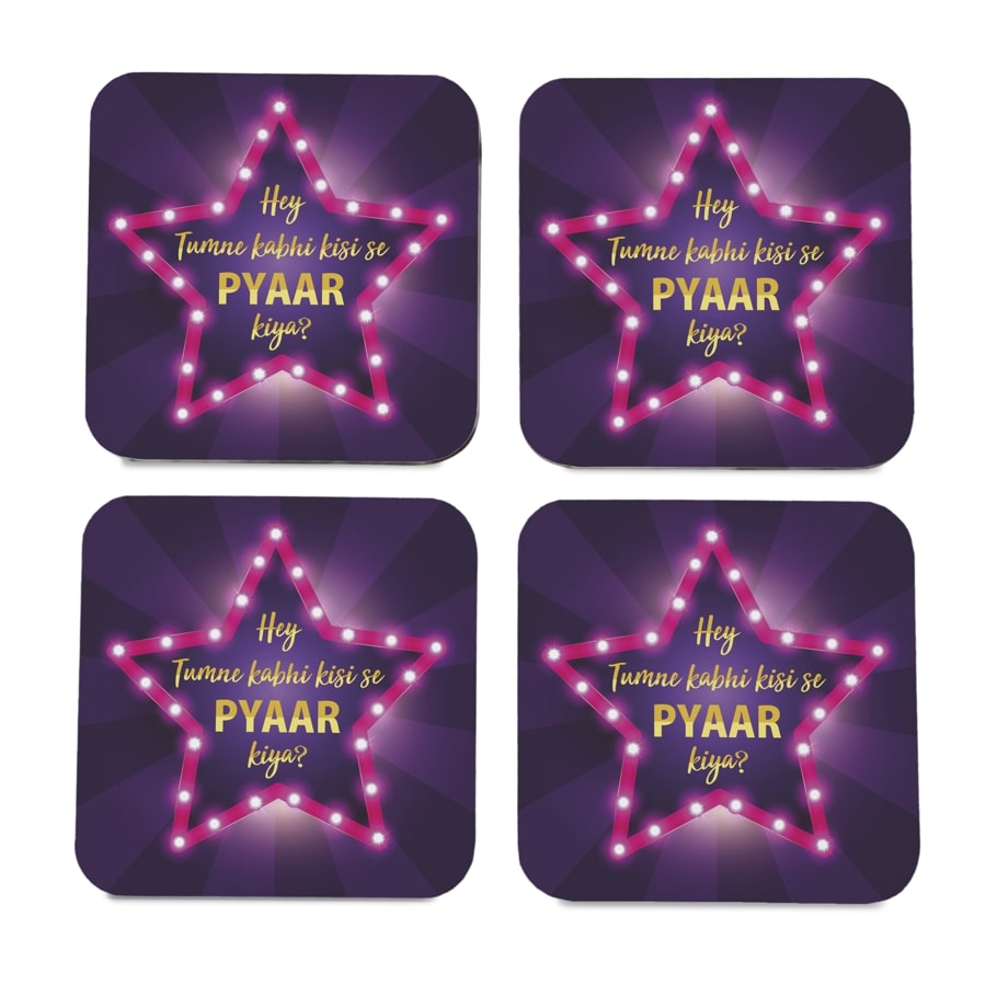 "Bollywood Karz 4 piece Coaster Set 3.75"" x 3.75"""
