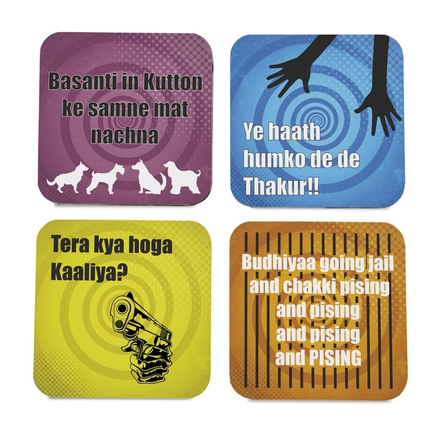 "Bollywood Sholay 4 piece Coaster Set 3.75"" x 3.75"""