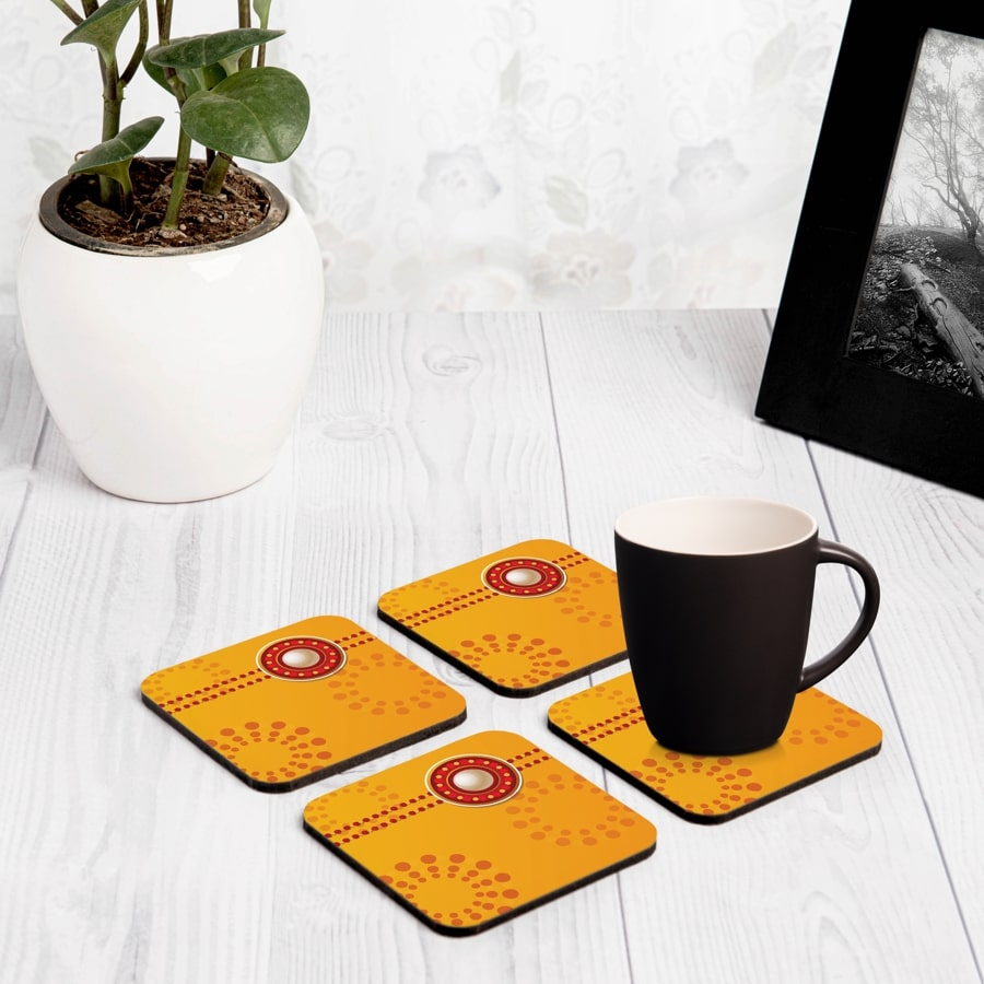 "Yellow Raksha 4 piece Coaster Set 3.75"" x 3.75"""
