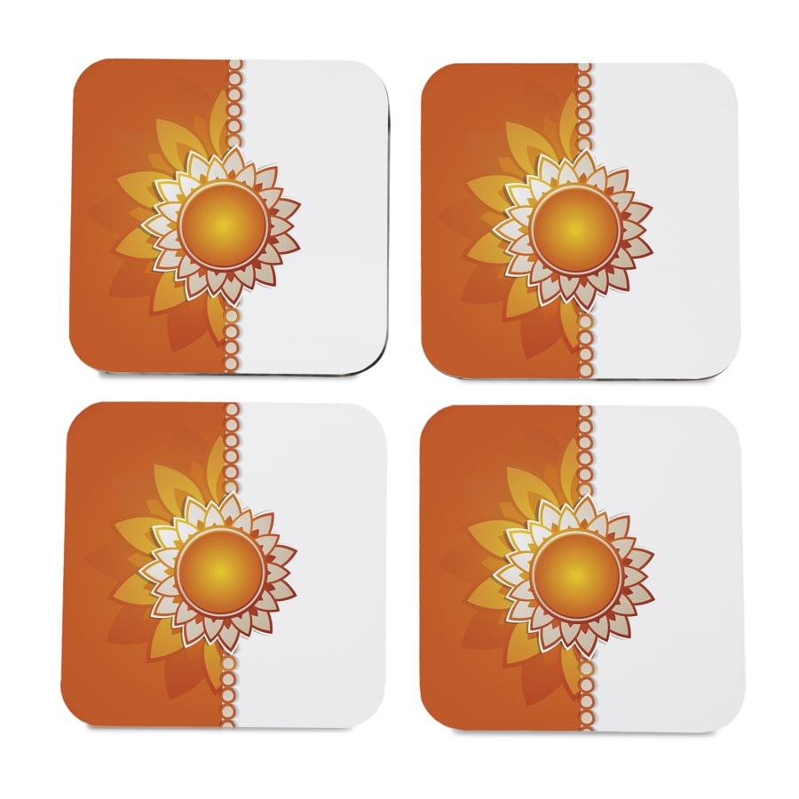 "Rakhee Orange 4 piece Coaster Set 3.75"" x 3.75"""